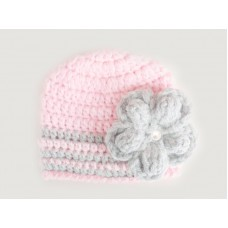 Pink baby girl crochet beanie with gray flower, Tinysmiley