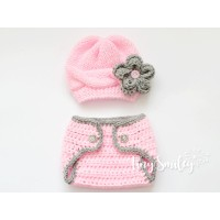 Pink knit baby girl set, Cable hat and diaper cover