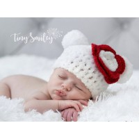 White polar bear baby hat, Crochet white bear hat, Bear ears hats, Tinysmiley