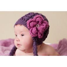 Purple baby girl hat, Purple girl beanie