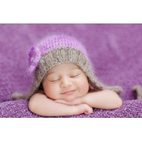 Mohair purple pixie baby bonnet, Knit newborn girl bonnet, Tinysmiley