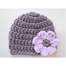Purple baby girl crochet hat, Crochet girl with flower, Newborn flower hats