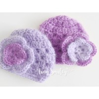 Twin girl hats, Purple newborn girl hats, Mohair girl beanies, Crochet twin hats