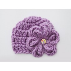 Wool newborn girl beanie, Crochet baby hat, Lavender baby girl hat