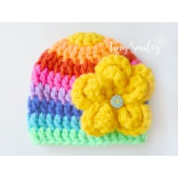 Rainbow chunky baby girl hat, Winter colorful girl hat