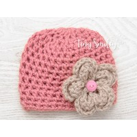 Baby salmon girl hat with flower, Crochet hospital hat beanie