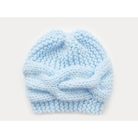 Knit sky blue girl boy hat, Winter cable hand knitted beanie