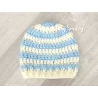 Striped boy crochet hat, Cream and sky blue newborn beanie, Hospital boy hats