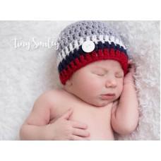 Newborn striped baby boy hat, Hats for baby boy gray, Button baby hat
