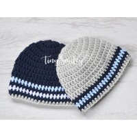 Twin newborn baby hats striped gray and blue beanies newborn twin outfit