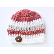 Crochet baby boy hat, Brown striped boy hat, Winter newborn crochet hat