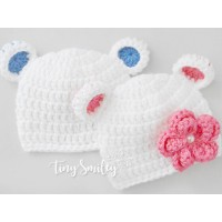 White bear hats, Baby bear twin hats, Twin crochet bear hats, Twin animal hats