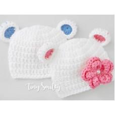 White bear hats, Baby bear twin hats, Twin crochet bear hats, Twin animal hats