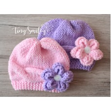 Twin knit girl hats, Knit newborn outfit, Cable twin girl hats pink lavender