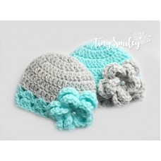 Flower girls twins baby hats, Mint green and gray twin beanies, Tinysmiley