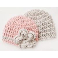 Hand crocheted twin boy girl hats, Pink and Beige twin baby hats
