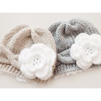 Twin knit girl hats, Knit newborn outfit, Cable twin girl hats gray beige