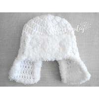 White aviator crochet hat for baby, Crochet pilot newborn hat, Winter aviator hats, Tinysmiley