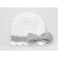 Crochet bow girl hat, White baby girl hat, Hat with bow crochet, Tinysmiley