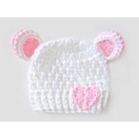 Crochet bear white girl hat with ears, Bear newborn baby hat with little heart