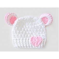 Crochet bear white girl hat with ears, Bear newborn baby hat with little heart