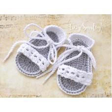 White crochet cotton baby girls sandals
