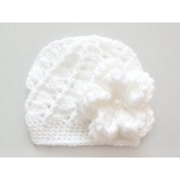 Interchangeable crochet flower hat white baby girl hat with three flowers infant girl hat cute baby hat hat with removable flowers