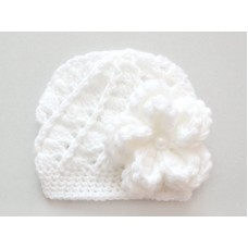 Interchangeable crochet flowers hat, White baby girl hat with three flowers