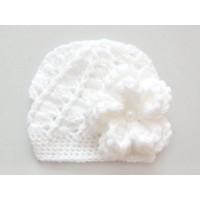 White baby hats for girl, Crochet newborn girl hat, Textured  baby flower hat