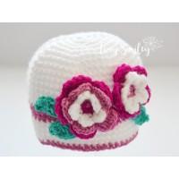 White flower crochet girl hat, Newborn girl hat, Baby girl hat with flowers