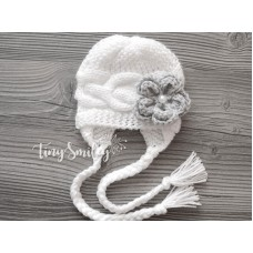 Winter white baby hat, Knit baby girl hat, Girl winter earflap hats