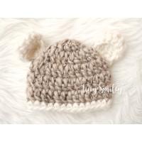 Wool bear baby hat, Wool newborn bear hat, Baby bear hat beige, Winter bear baby hats