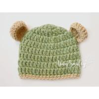 Wool bear ears crochet beanie, Winter bear ears baby hat