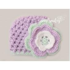 Wool crochet girl hat, Mohair baby girl beanie, Crochet purple newborn girl hat