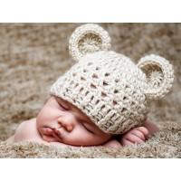 Crochet off white wool bear hat, Newborn bear ears beanie