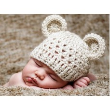 Crochet off white wool bear hat, Newborn bear ears beanie
