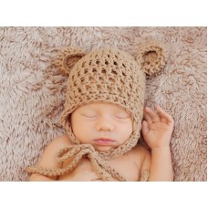 Crochet earflap baby hat, Baby hat with ears, Butterscotch crochet bear hat