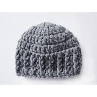 Wool gray baby hats, Dark Gray newborn beanie, Chunky crochet baby hat