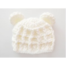 Cream bear hat, Newborn bear hat baby, Winter bear crochet animal hats