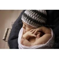 Wool baby hat boy, Crochet baby boy hat, Winter striped boy beanie