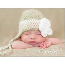 Earflap baby girl hat, Crochet baby hat