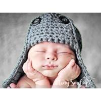 Wool aviator gray boys hat, Newborn bomber hat, Crochet pilot baby hat, Tinysmiley