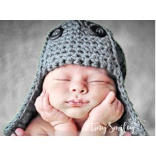 Wool aviator gray boys hat, Newborn bomber hat, Crochet pilot baby hat, Tinysmiley