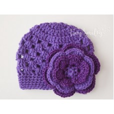 Purple Baby Girl Flower Hat Newborn Outfit