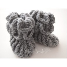 Gray Crochet Baby Boots Crocodile Stitch Booties