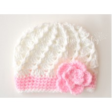 White Crochet Baby Girl Hat
