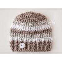 Beige striped baby boy hat, Wool winter crochet boy hat, Wool newborn outfit