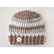 Brown Baby Boy Hat Striped Hat