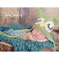 Owl earflap baby hat, Green crochet baby hat