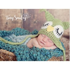 Owl Earflap Baby Hat Green Baby Hat